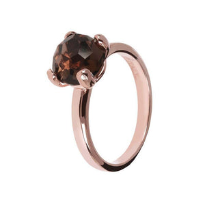 BRONZALLURE ROSE GOLD + SMOKY QUARTZ RING