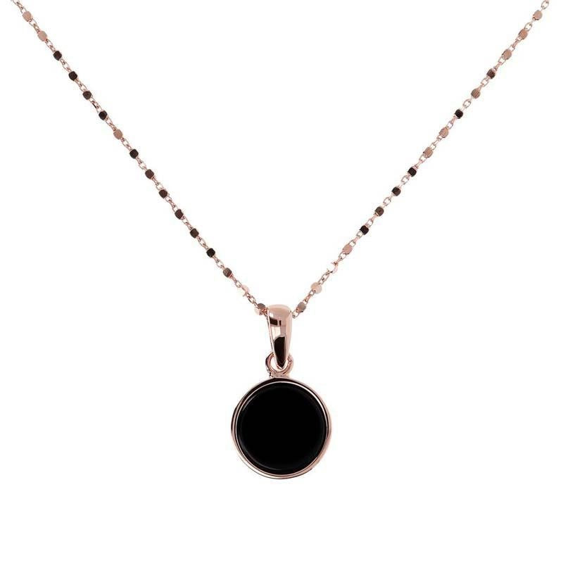 BRONZALLURE ROSE GOLD + ONYX NECKLACE