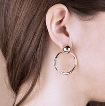 Load image into Gallery viewer, BRONZALLURE ROSE GOLD LARGE ROUND EARRINGS