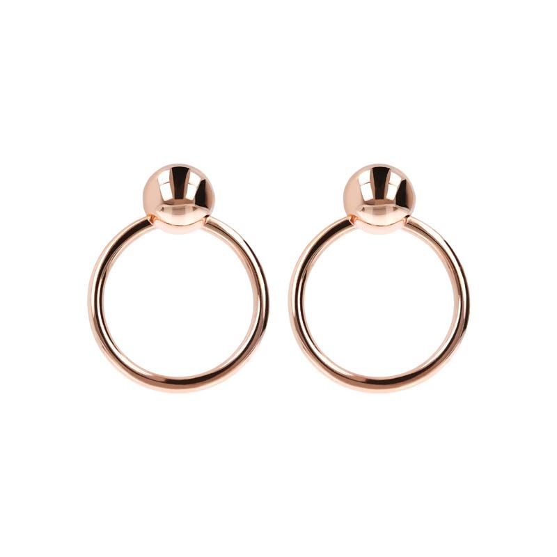 BRONZALLURE ROSE GOLD LARGE ROUND EARRINGS