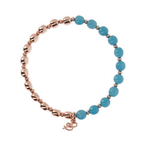 BRONZALLURE ROSE GOLD + BLUE QUARTZ BRACELET