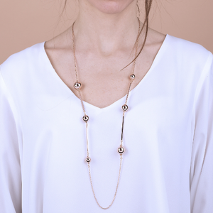 BRONZALLURE ROSE GOLD BALL + CHAIN NECKLACE