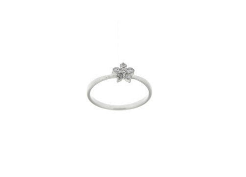 STERLING SILVER CZ FLOWER RING