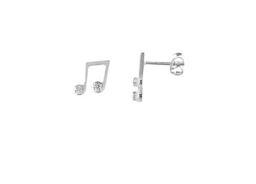 STERLING SILVER CZ MUSIC NOTE STUDS