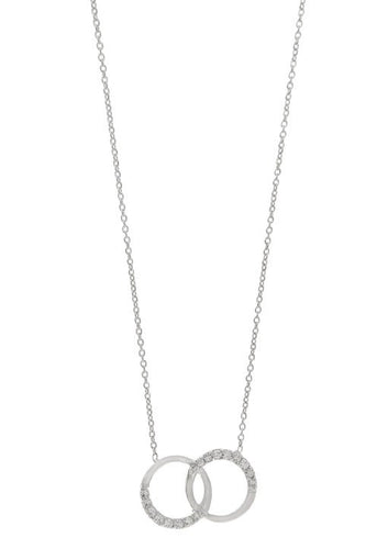 STERLING SILVER DOUBLE CIRCLE CZ NECKLACE