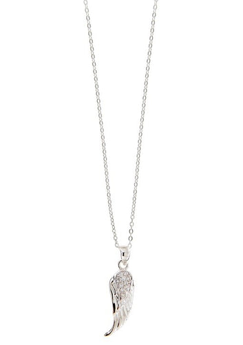 STERLING SILVER ANGEL WING CZ NECKLACE