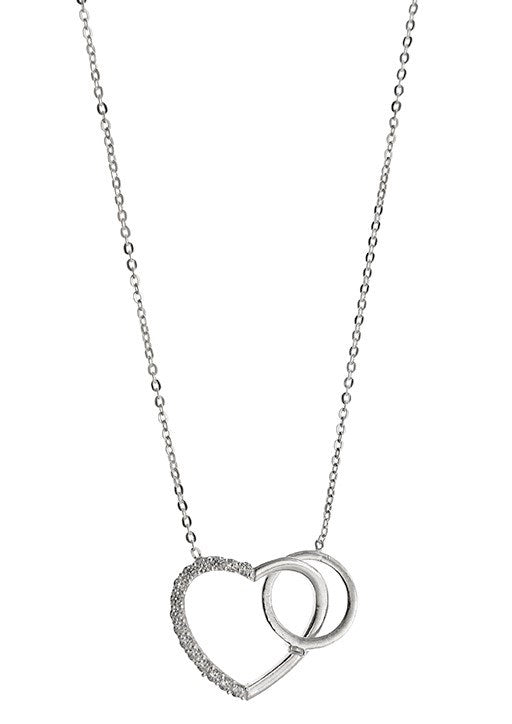 STERLING SILVER HEART AND CIRCLE NECKLACE