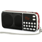 FM Radio, Mini Portable Digital Audio Music Player Speaker with LED Flashlight Support TF Card USB AUX
