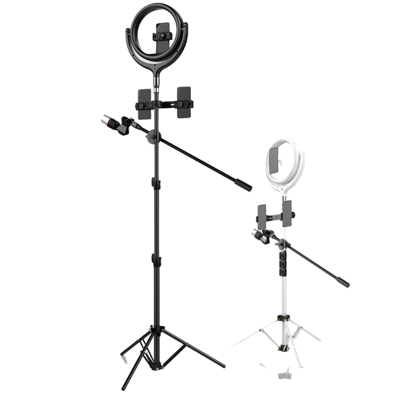 Devia Tripod LED Lamp Video Photography Ring Light Kit White 12 Inch 170cm