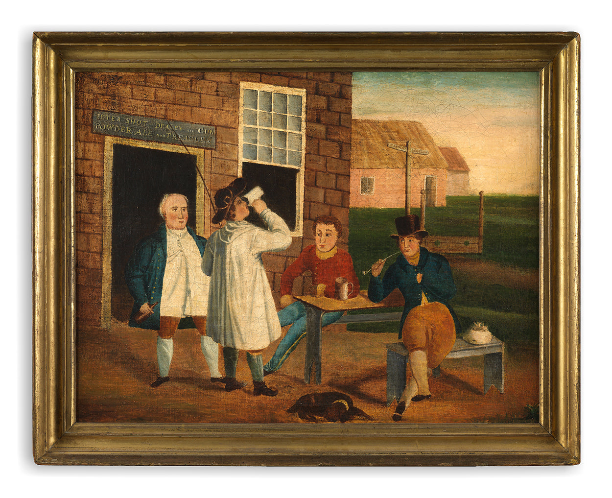 Figures Gathered Together Outside a Tavern