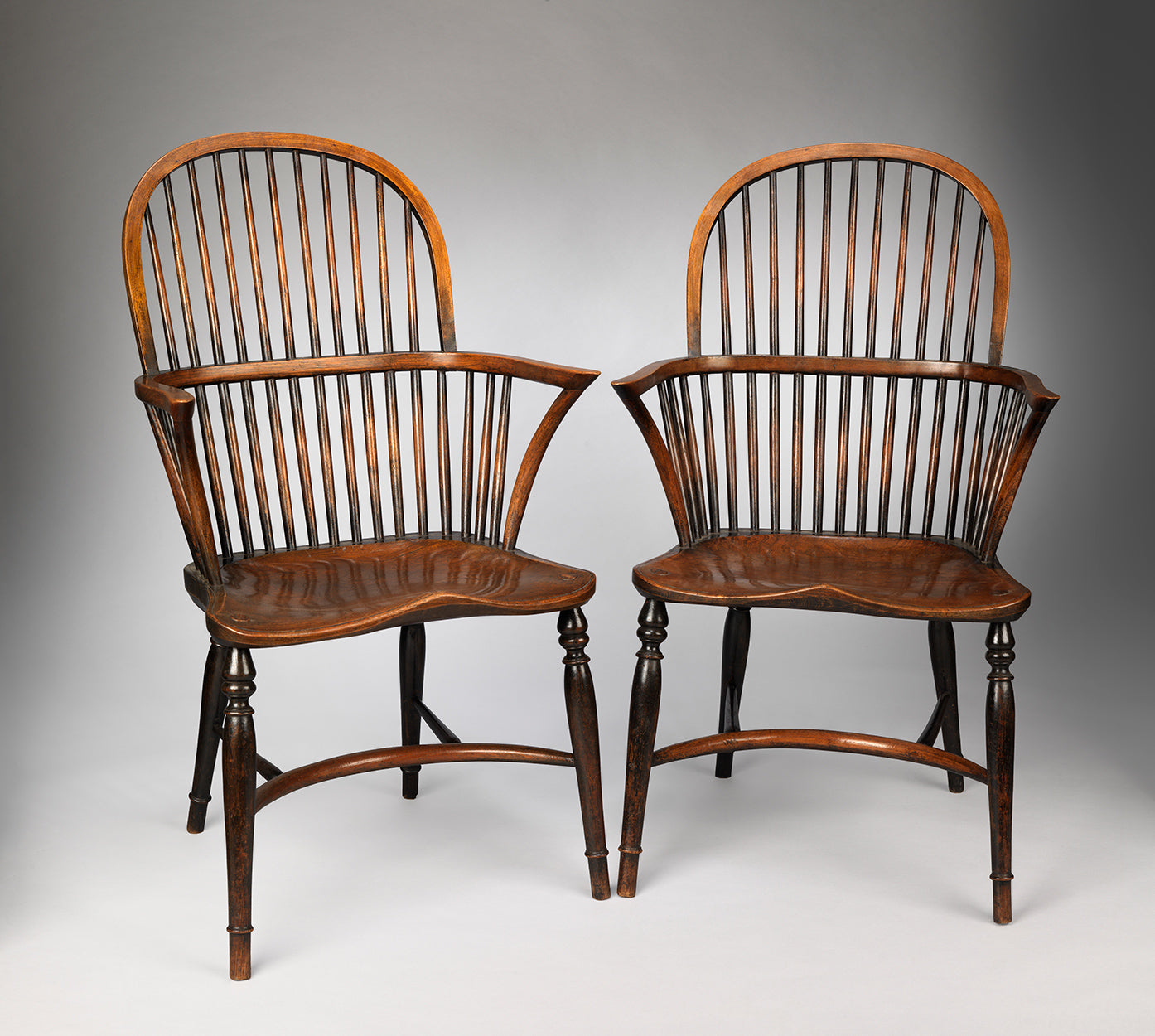 Pair of Classic Bow Back Windsor Armchairs