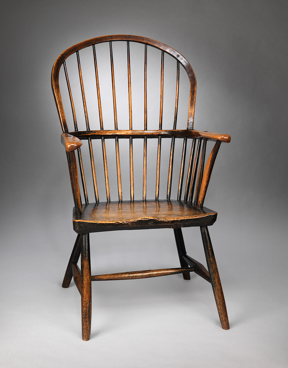 Handsome Primitive Georgian Bow Back Armchair