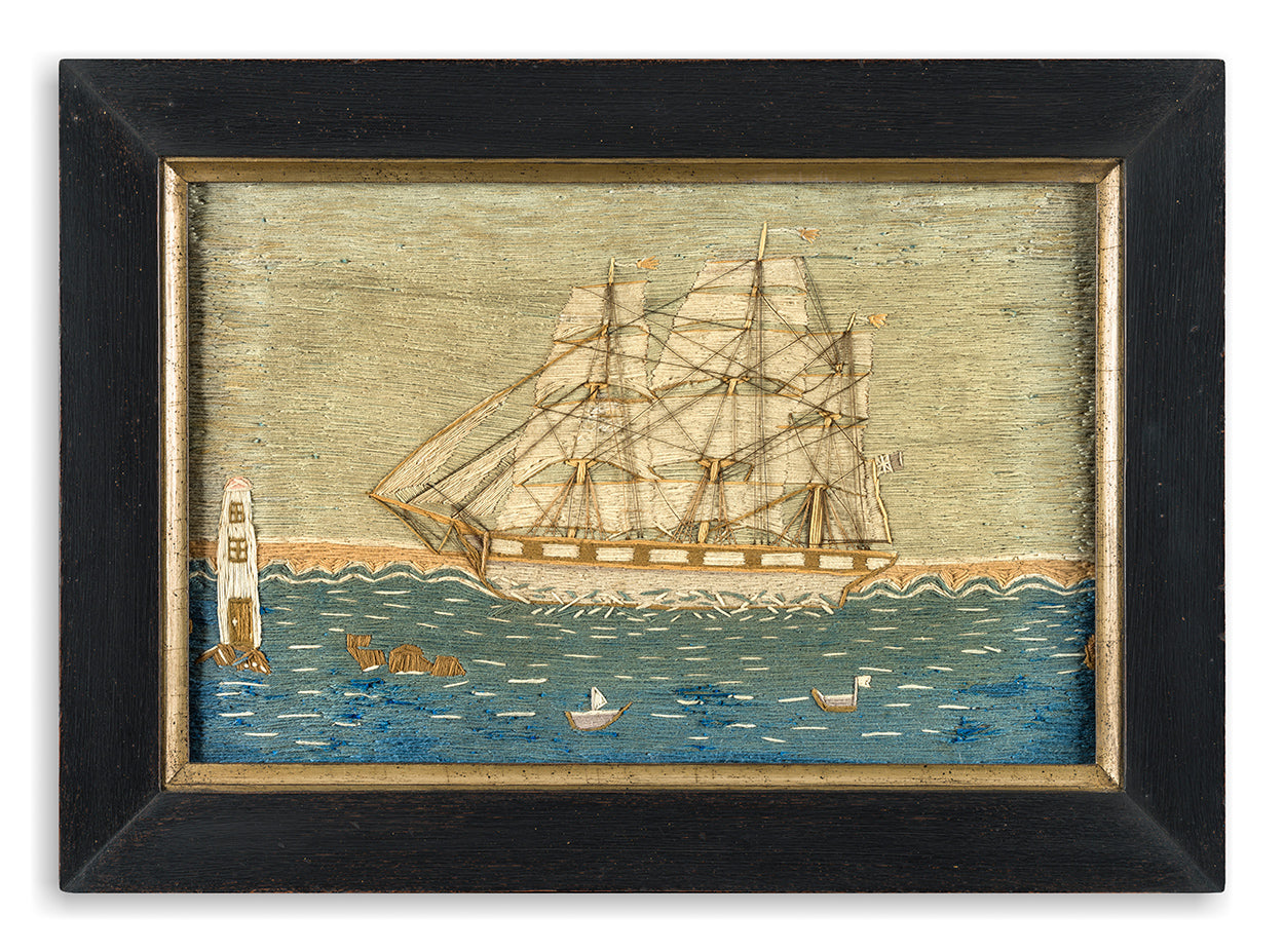 A Charming Naïve Sailor's Folk Art Woolwork Picture