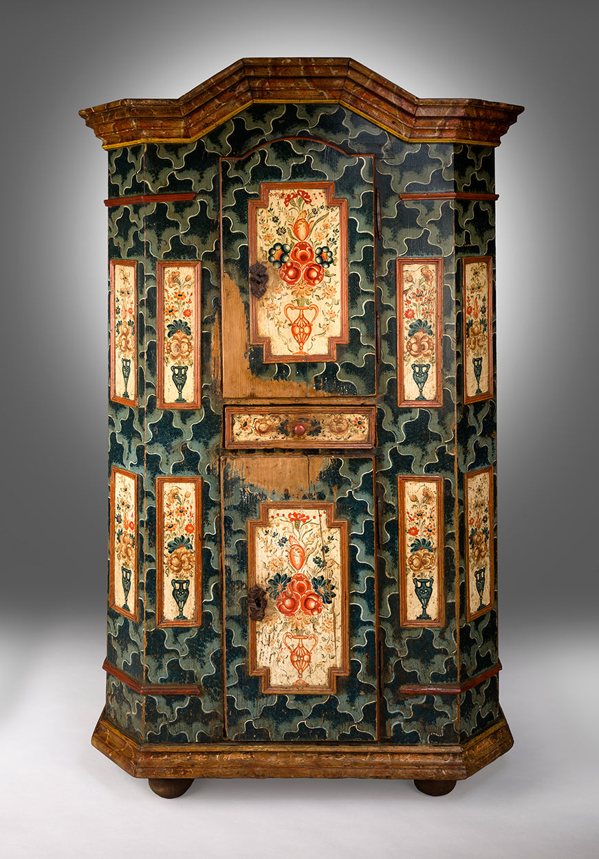 A Fine Paint Decorated Folk Art Marriage Cupboard