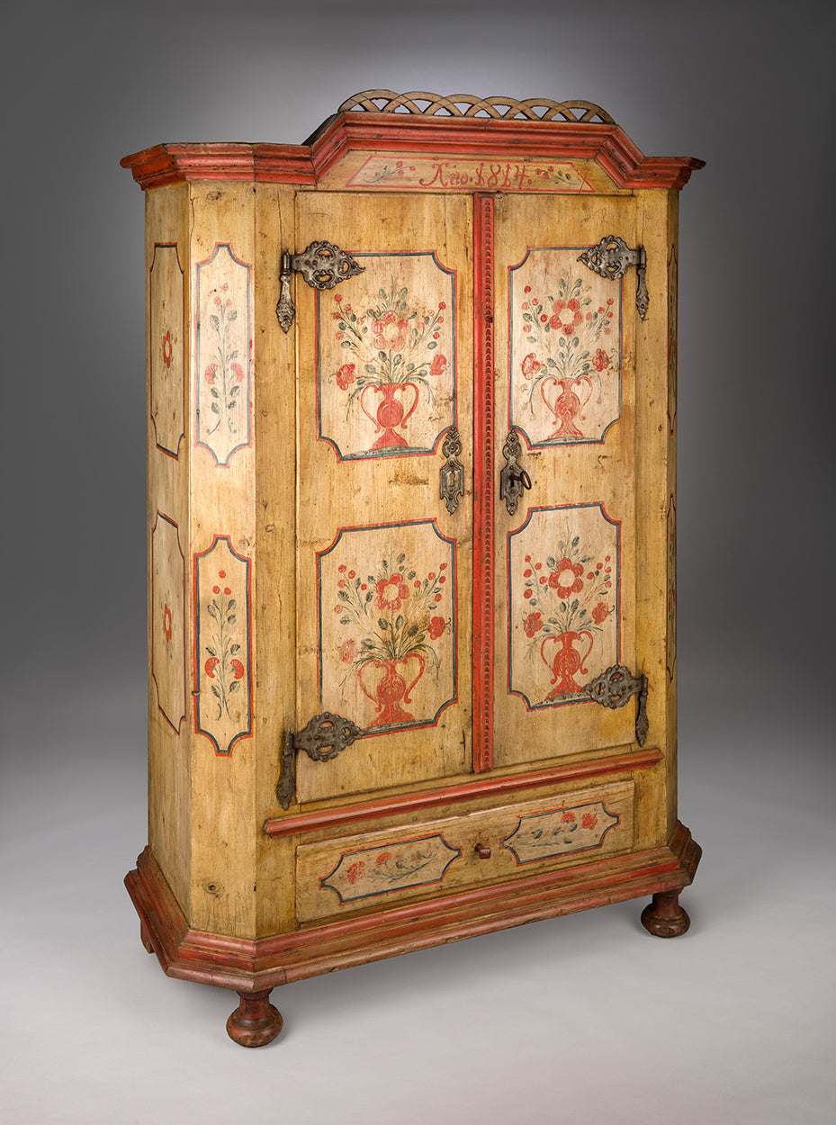 Exceptional Paint Decorated Two Door Marriage Cupboard