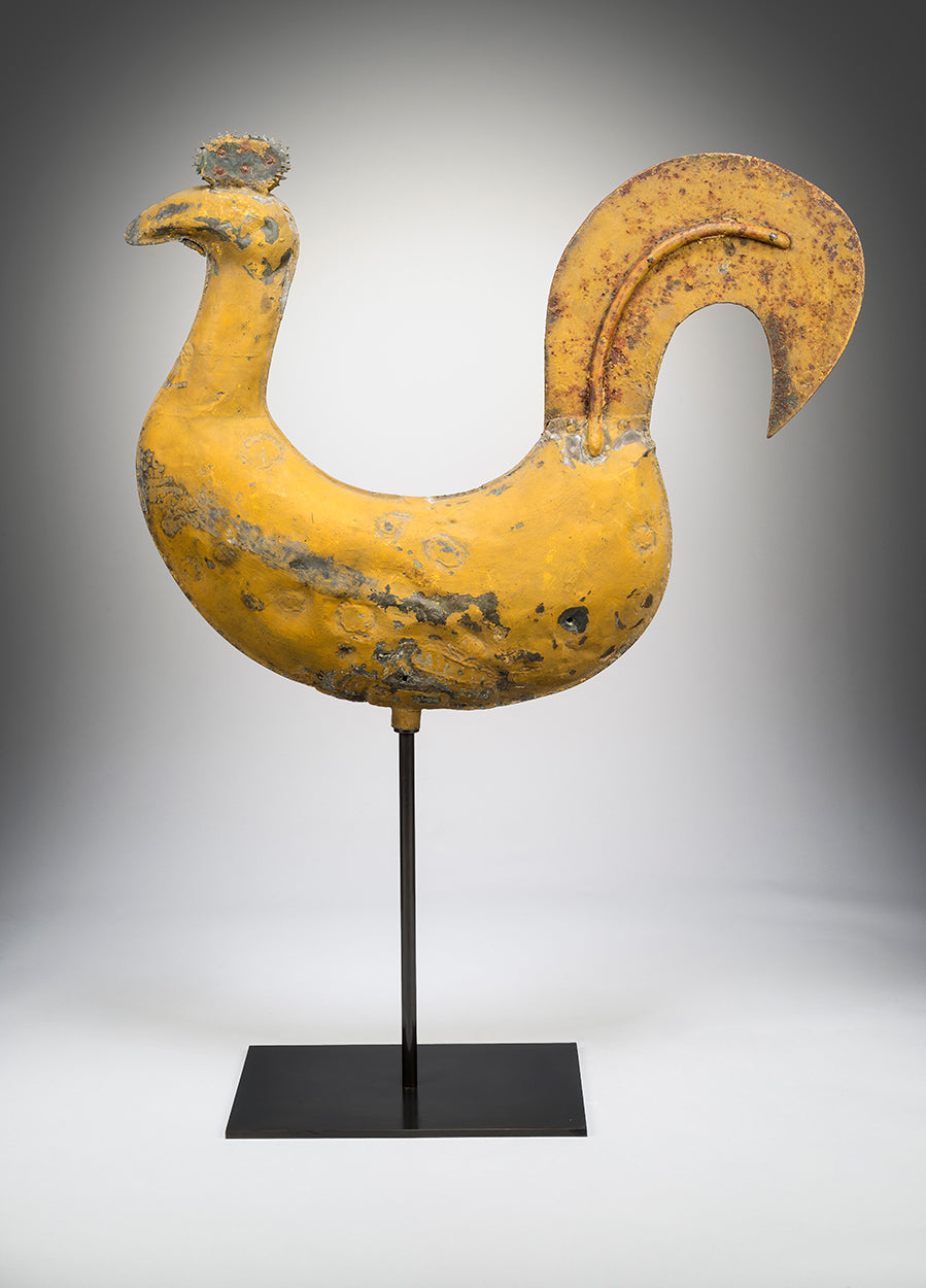 Imposing Primitive Full-Bodied Cockerel Weathervane