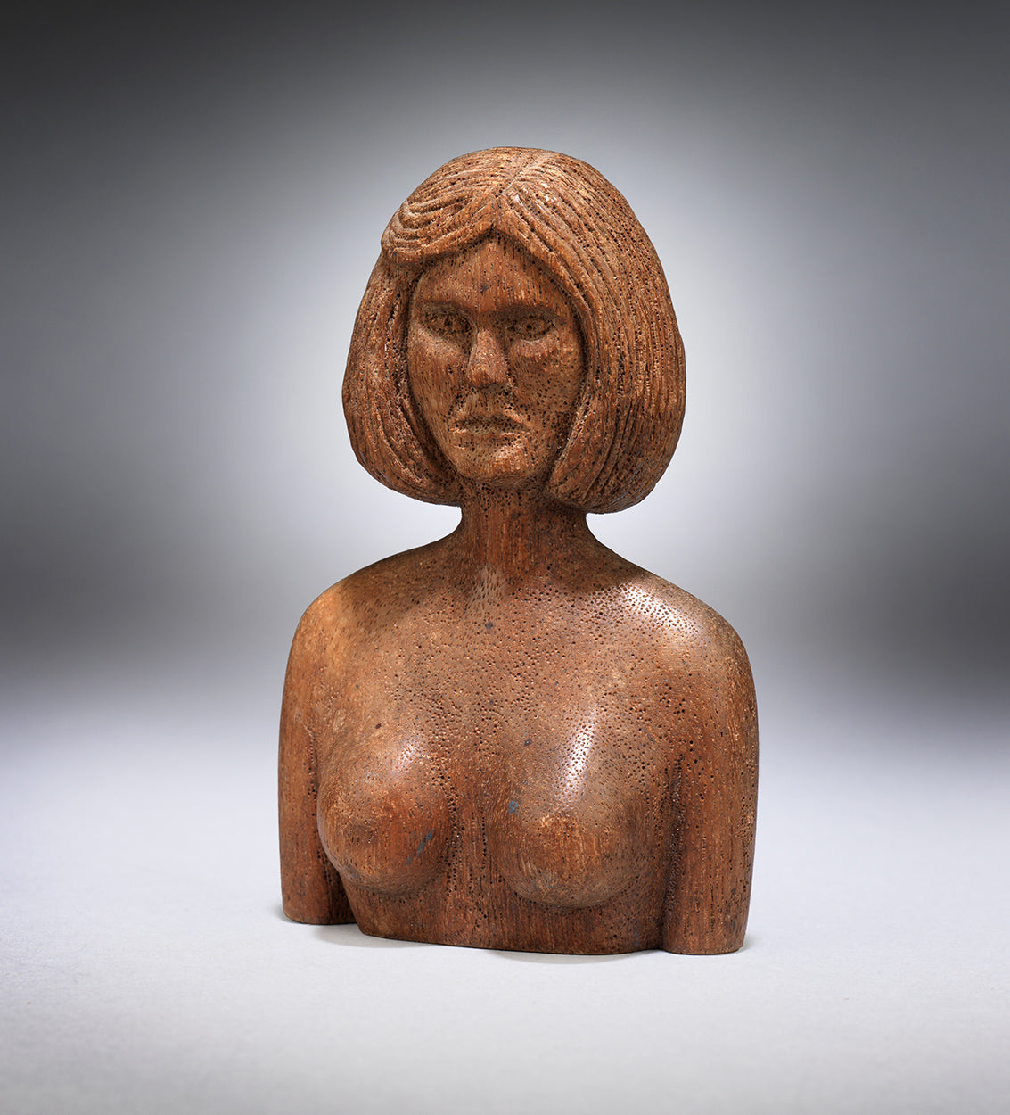 Diminutive Folk Art Sculpture of a Topless Lady