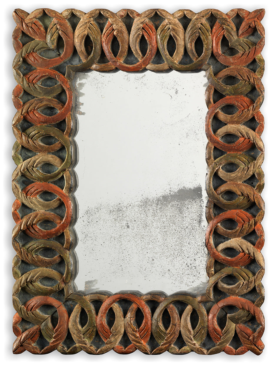 Rare Folk Art Latticework Carved Mirror