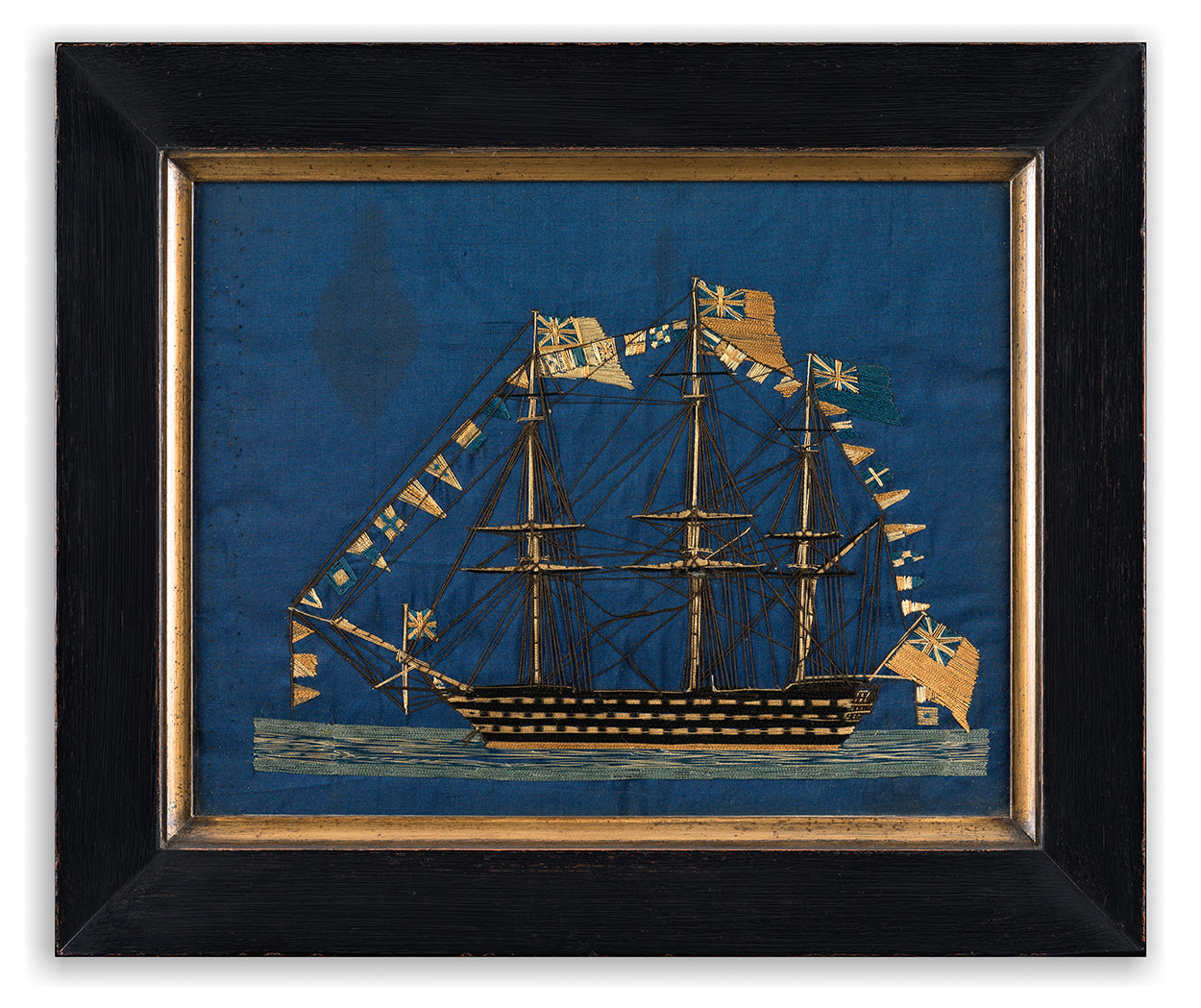 Antique Naval Needlework or Woolwork Ship Portrait