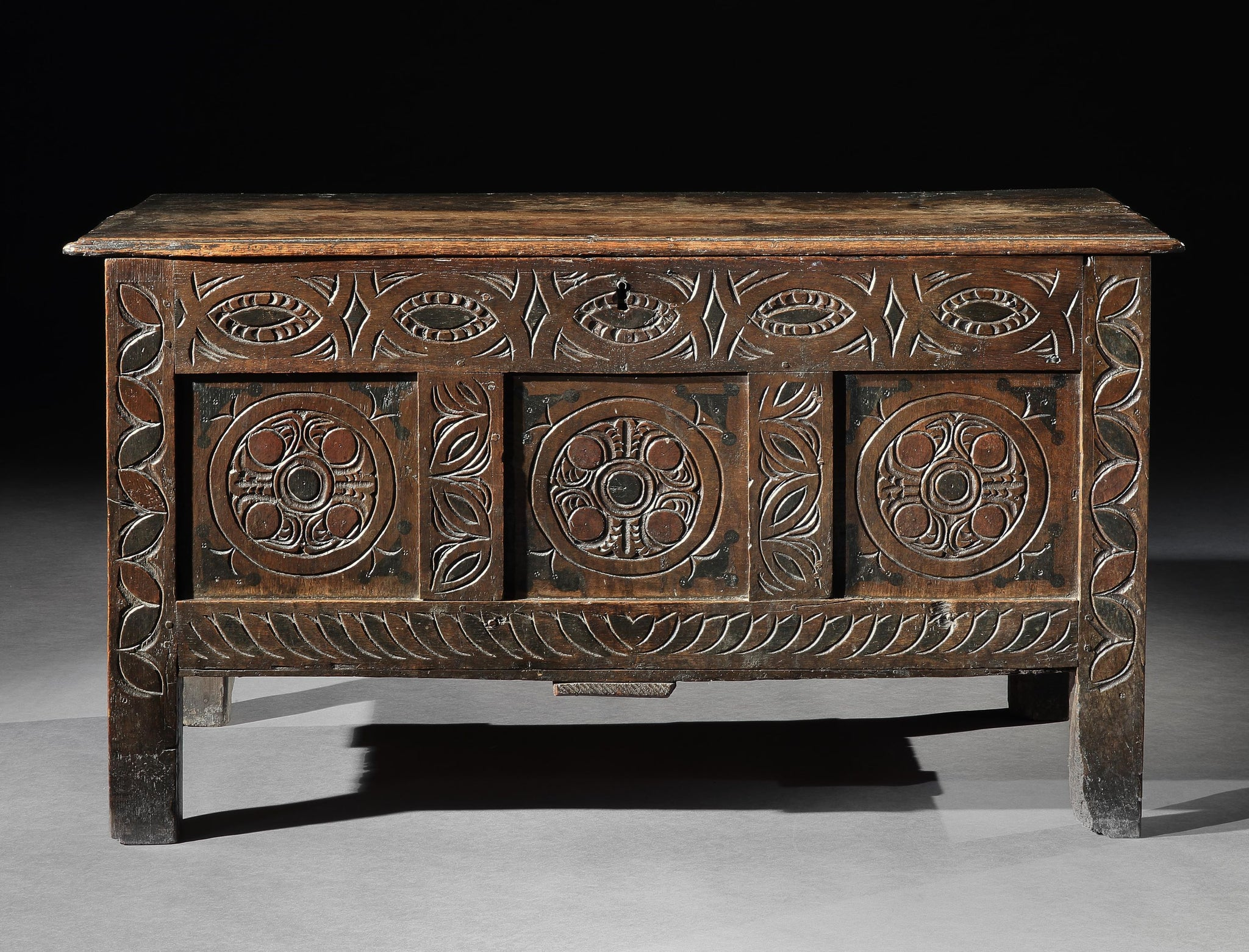 Early West Country Three Panel Decorated Chest