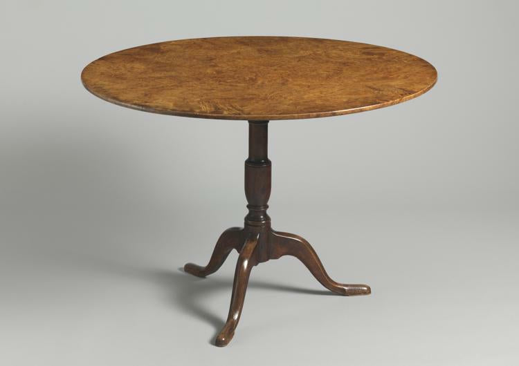 Fine Gustavian Burr Wood Top Circular Tripod Table