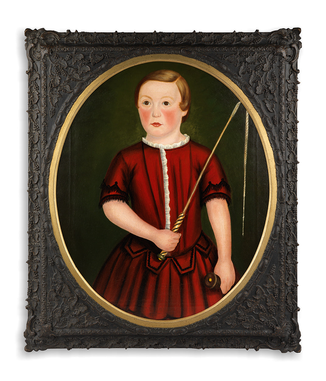 A Fine English Naïve School Oval Child Portrait