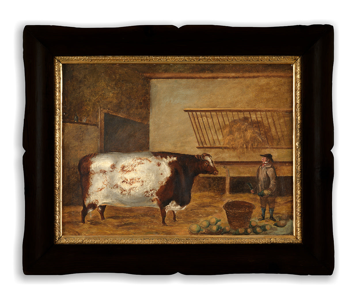 Unusual Naive Livestock Portrait of an Ox and Cowhand in a Byre