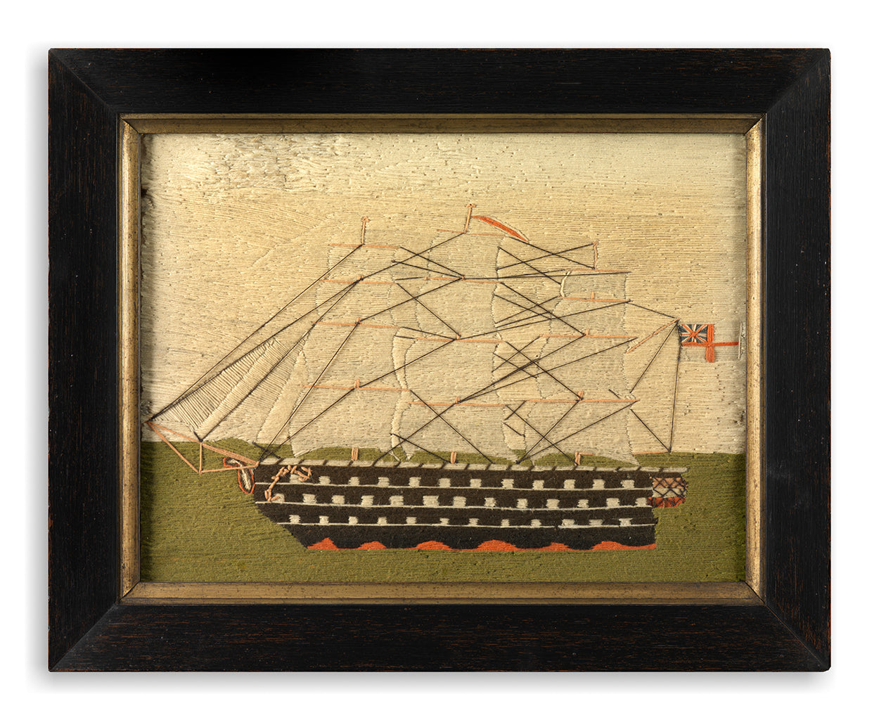 Unusual Naïve Sailor's Woolwork Picture