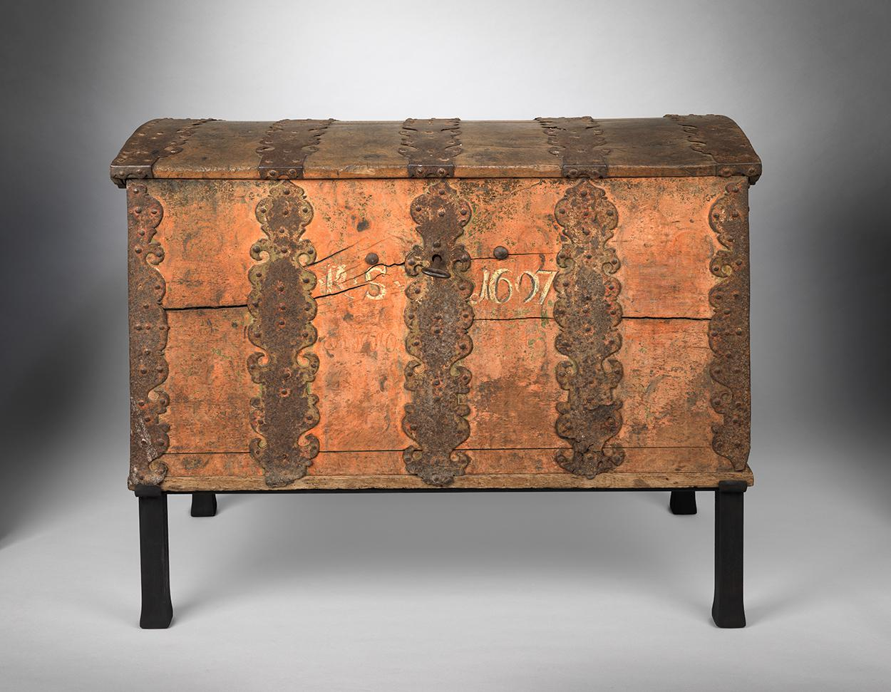 Exceptional Early Folk Art Marriage Chest