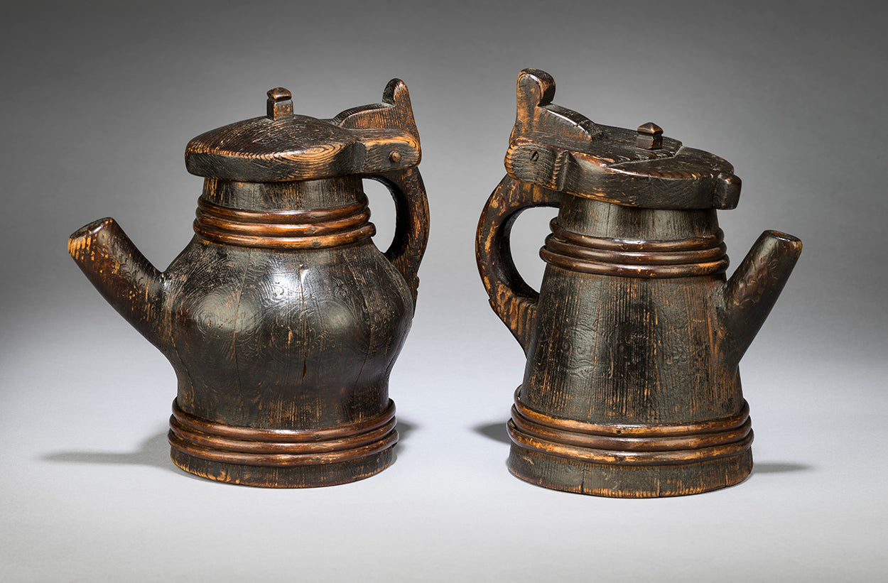 Two Diminutive Coopered and Spouted Ale Jugs