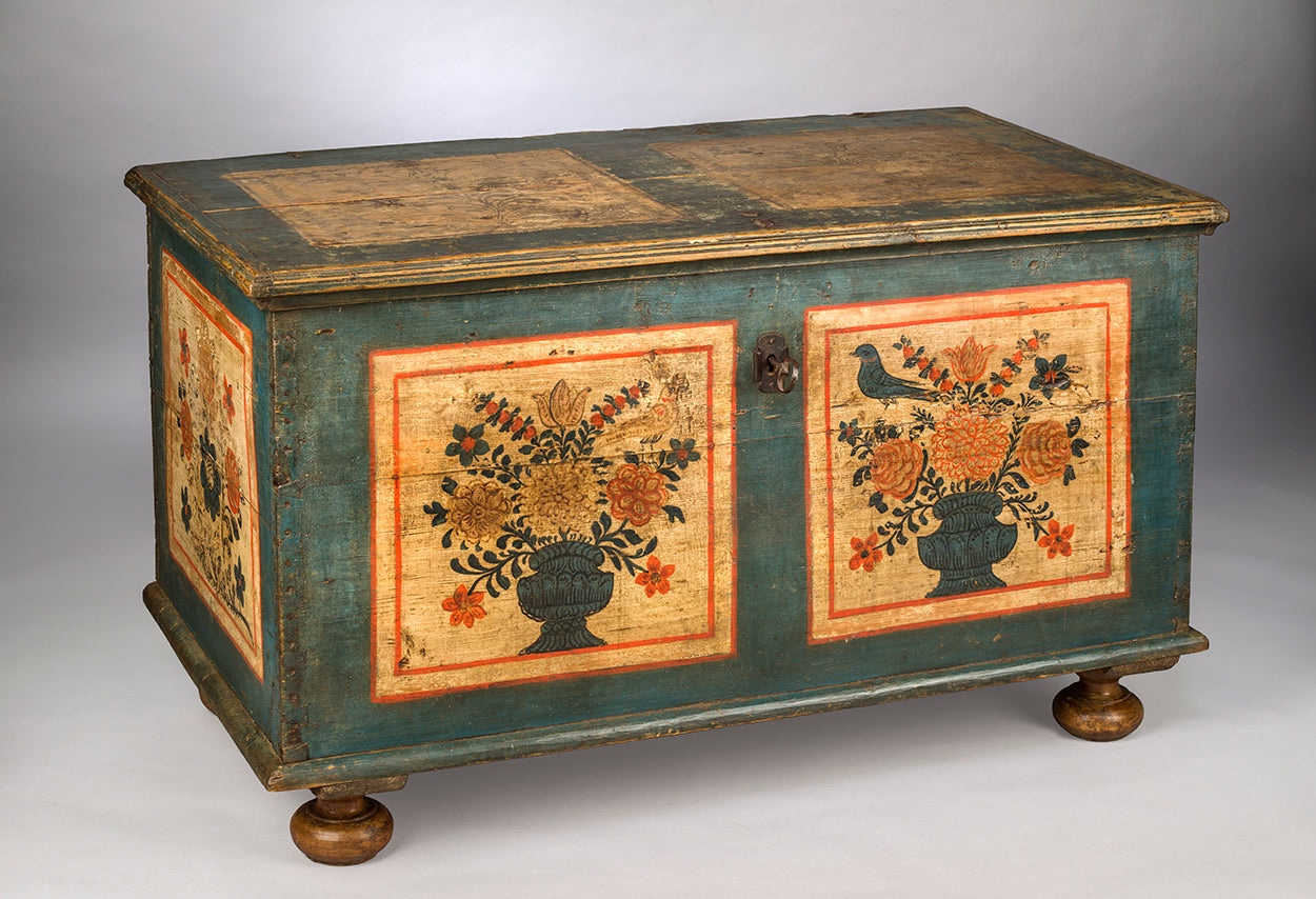 Fine Folk Art Painted Marriage Chest