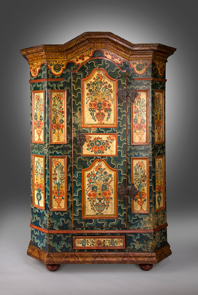 Fine Paint Decorated Folk Art Marriage Cupboard
