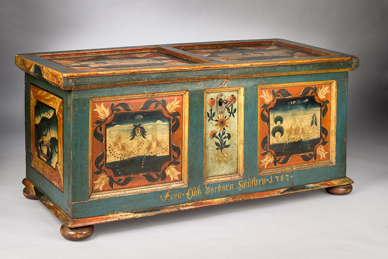 Documentary Folk Art Marriage Chest