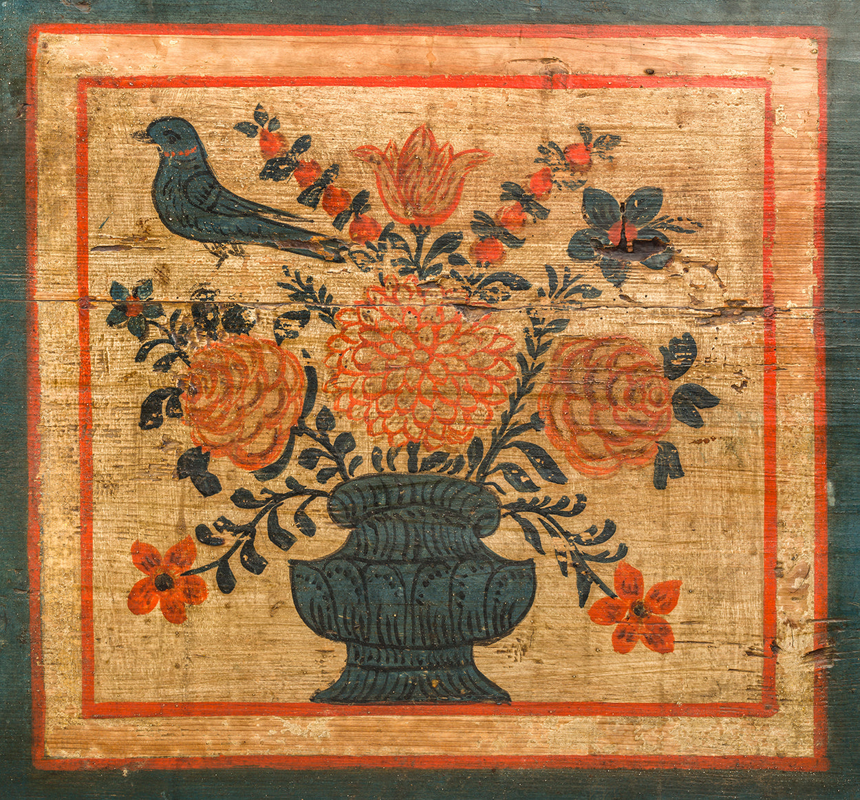 Fine Folk Art Painted Marriage Chest (Detail)