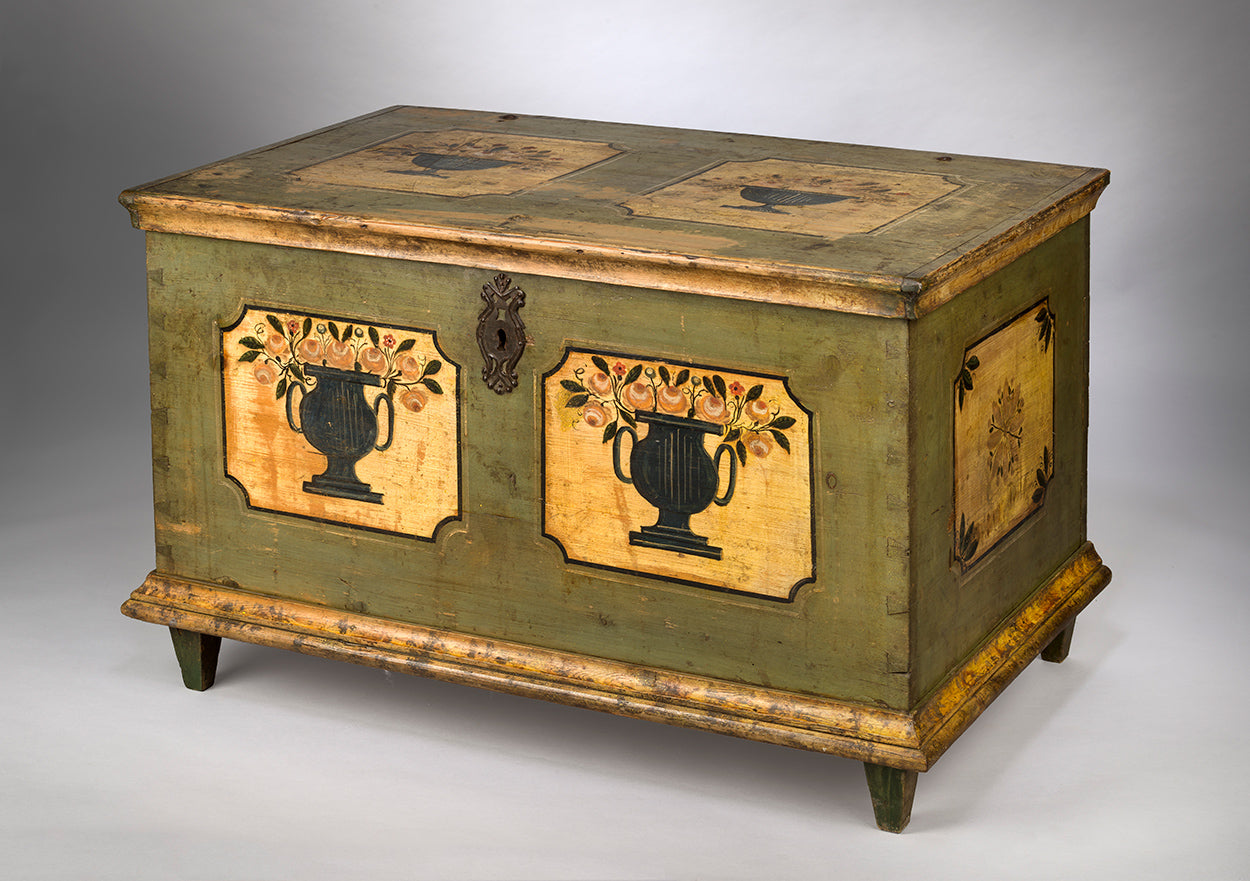 Refined Graphic Folk Art Marriage Chest