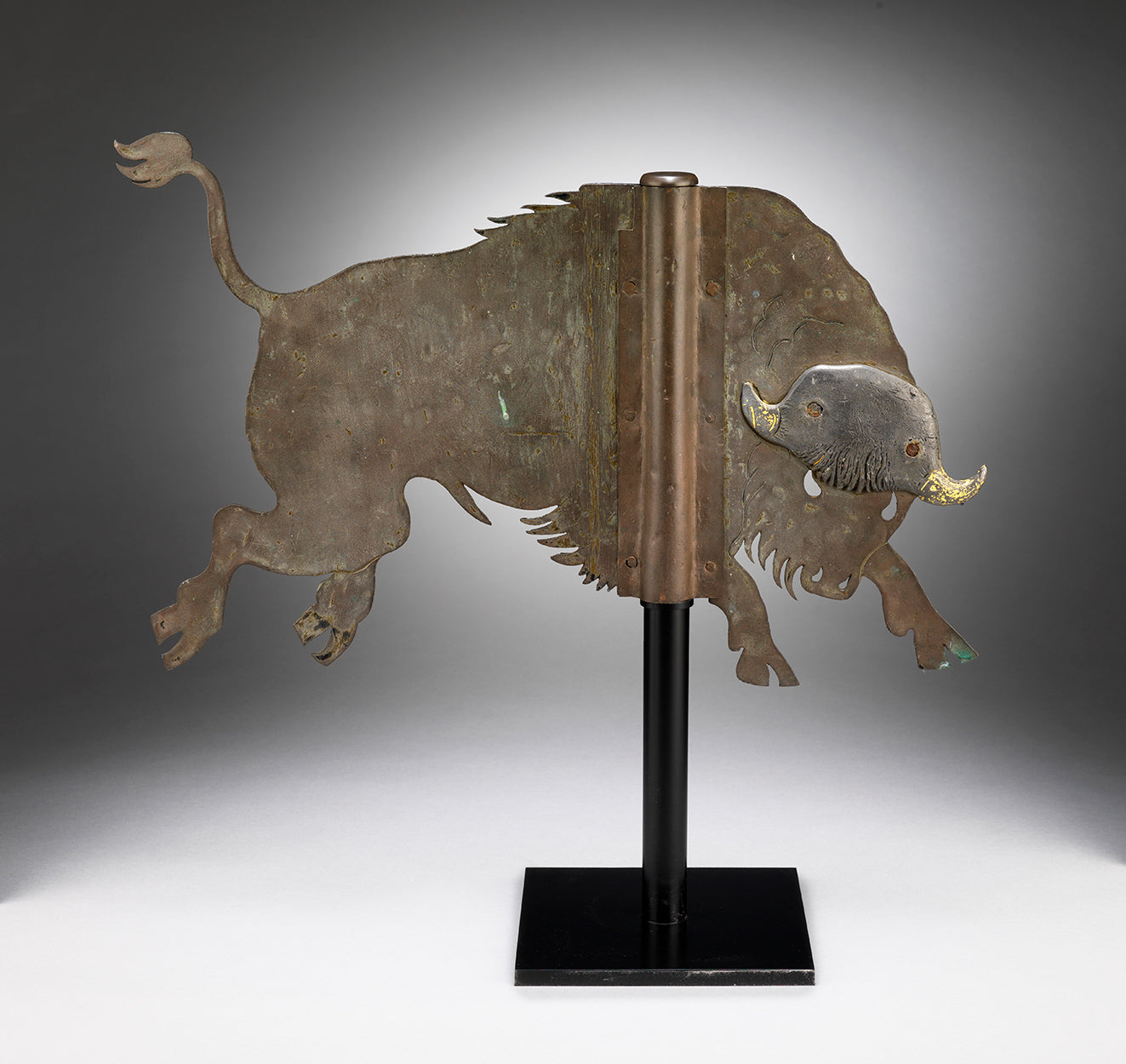 Rare Folk Art Charging Bison Weathervane