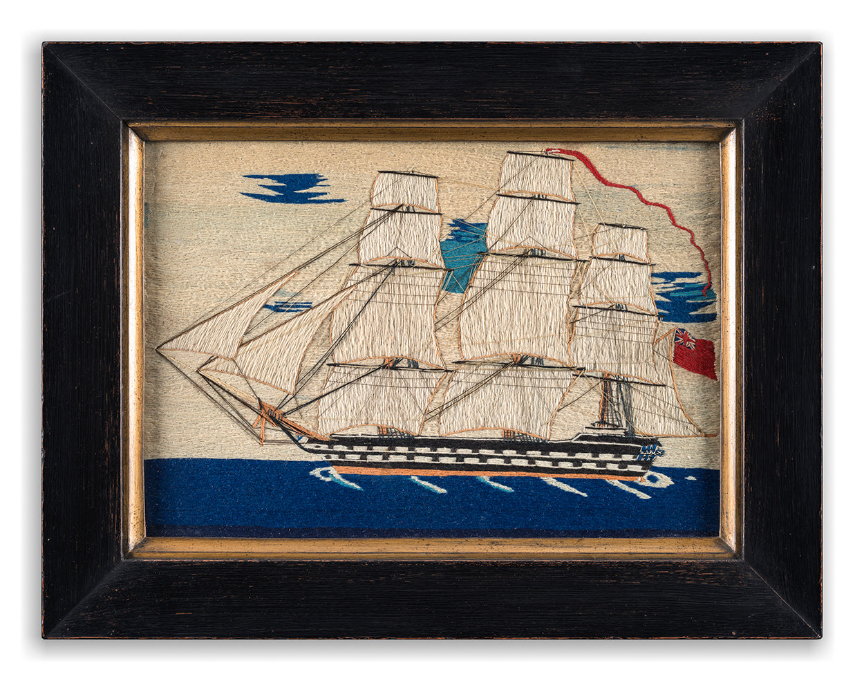 An Impressive Sailor's Primitive Wool Work Ship Portrait of a Fully Rigged Ship