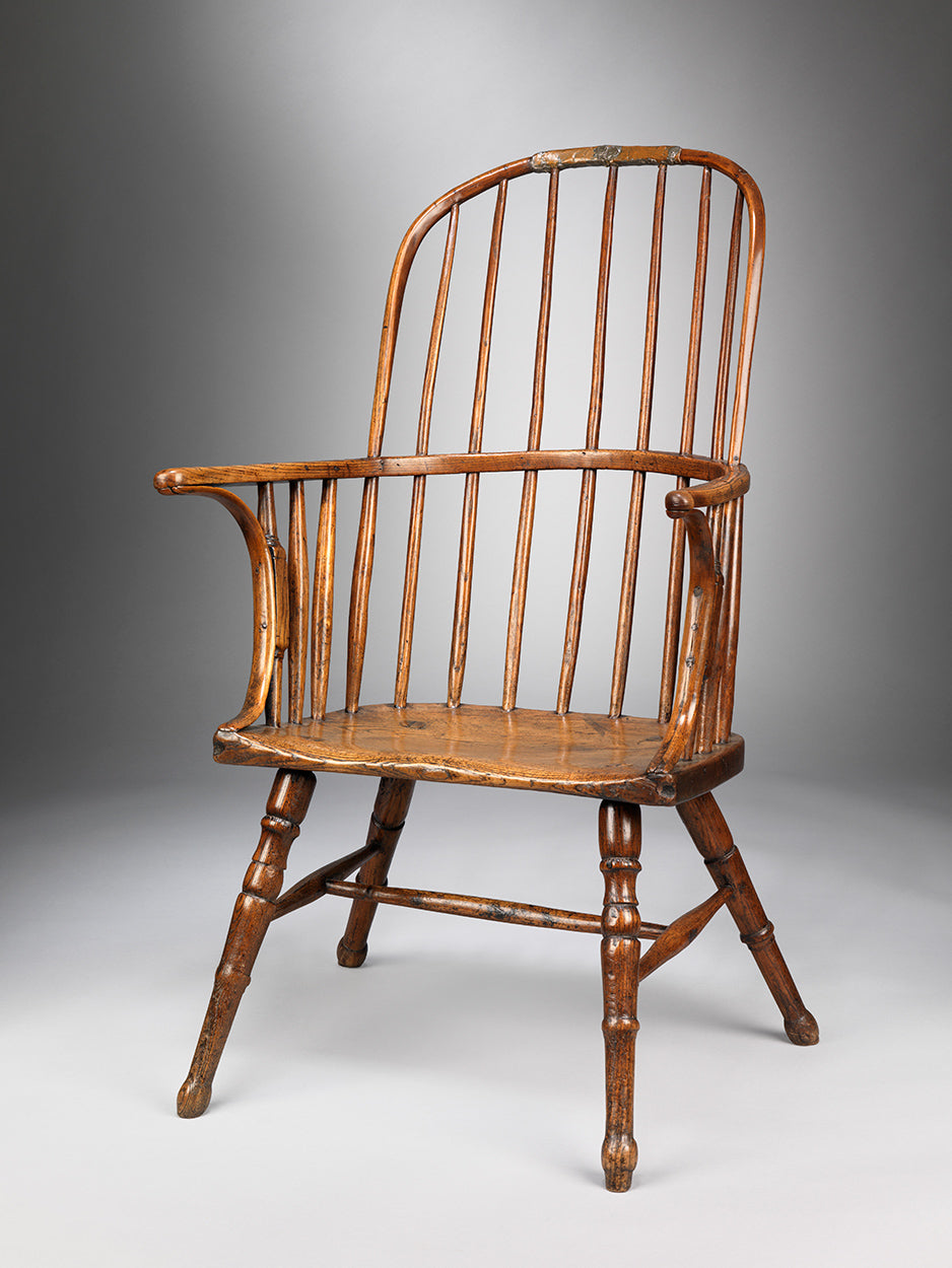 Primitive Stick and Hoop Back Windsor Armchair