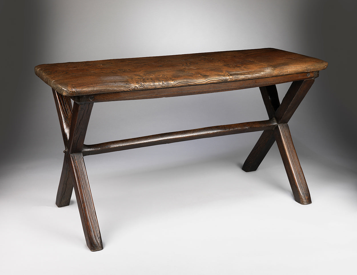 "Handsome Primitive Vernacular ""X"" Frame Tavern Table"