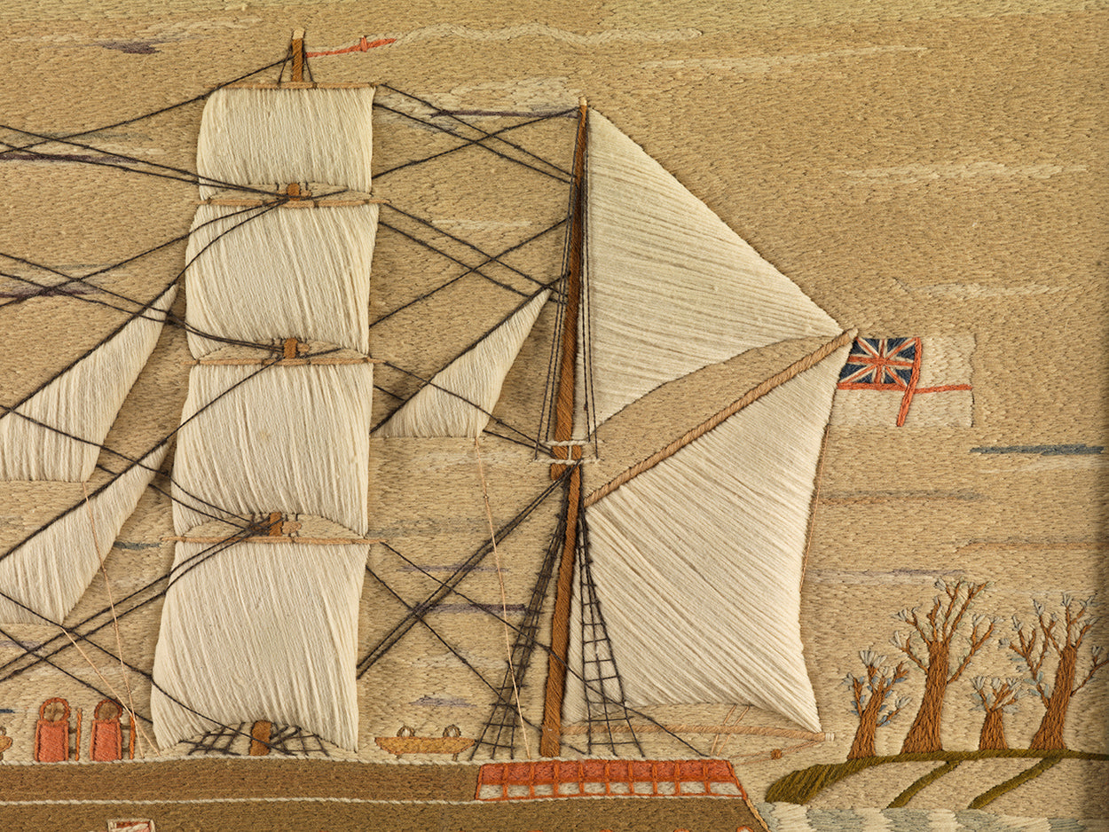 A Fine Large Naïve Sailorwork Ship Portrait of a Battleship in Full Sail (Detail)