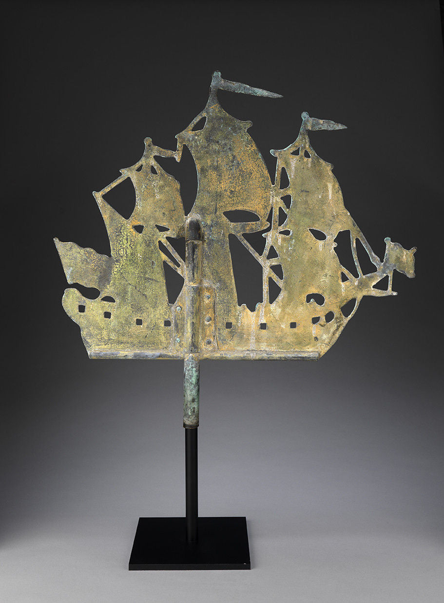 Early Three Masted Ship Silhouette Weathervane