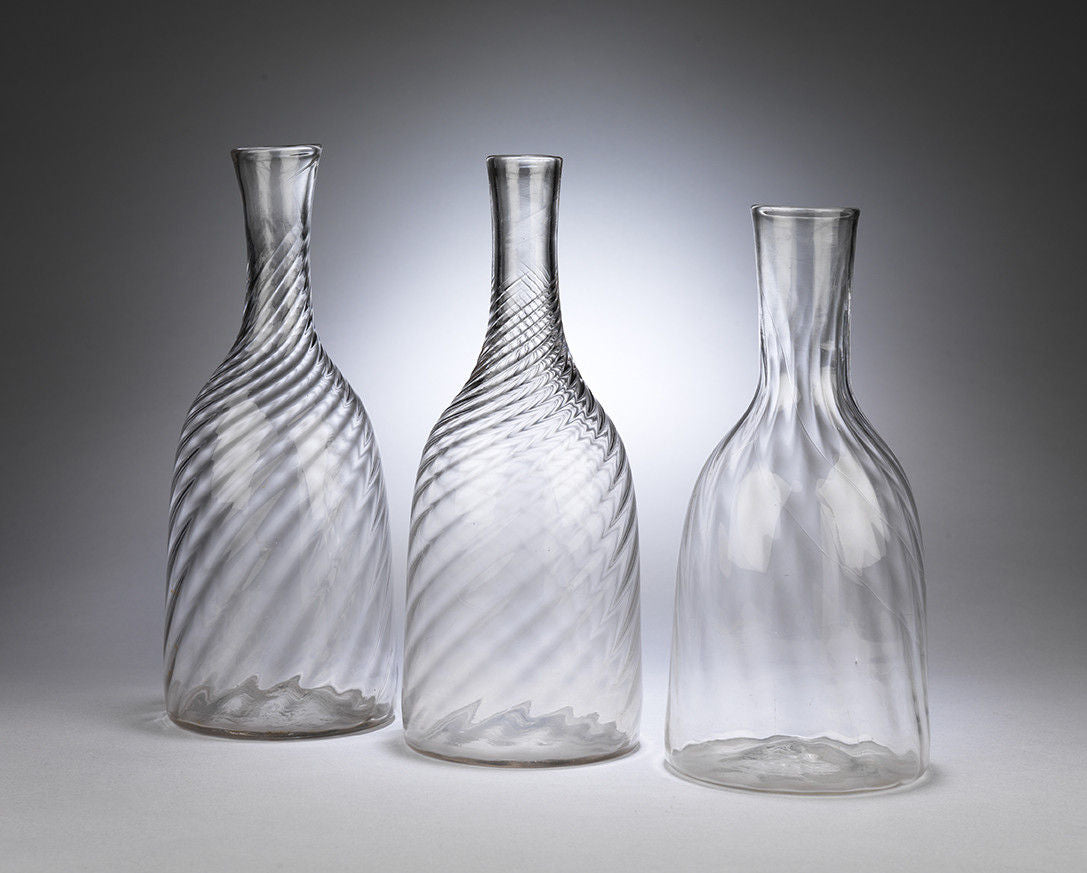 "Group of Three ""Spiral Twist"" Glass Caraffes"