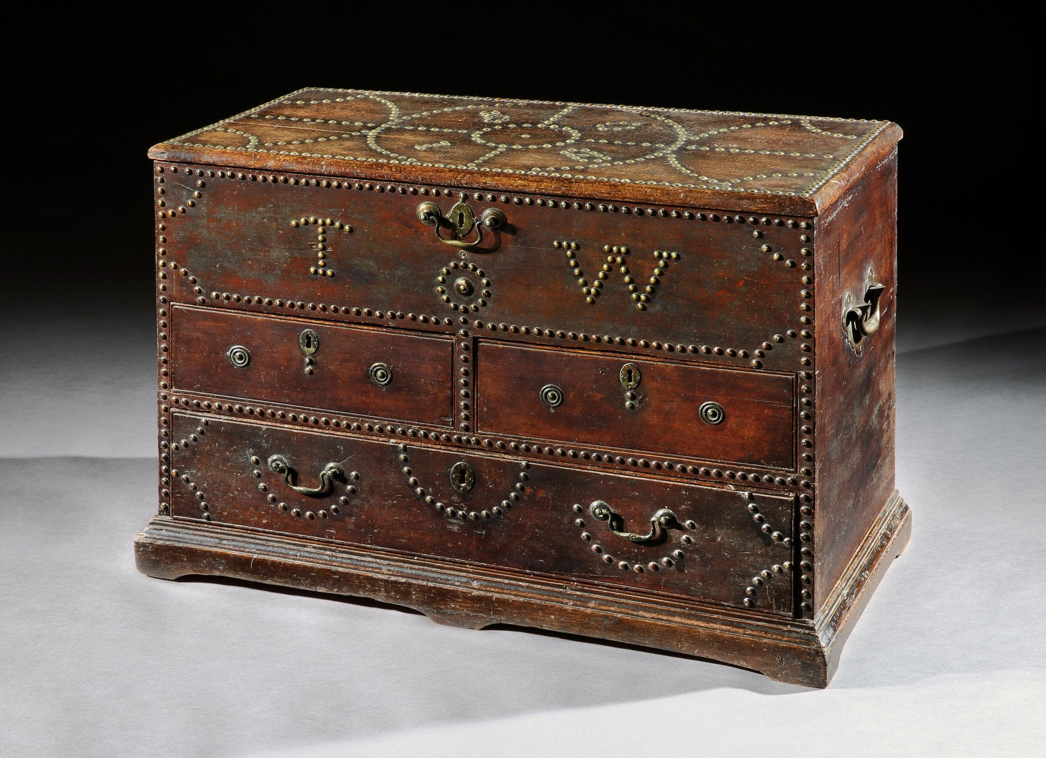 Fine Georgian Folk Art Marriage Chest