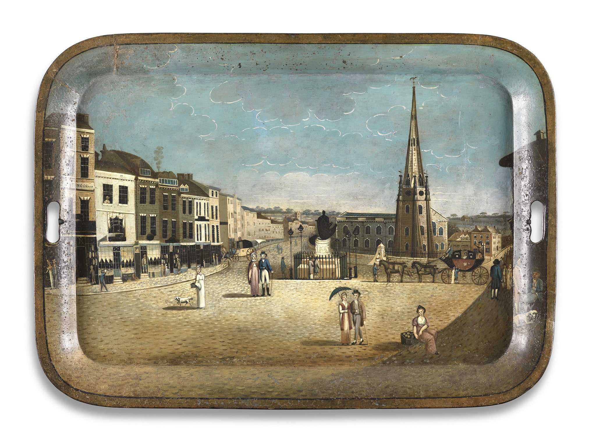 Rare Figuratively Painted Metal Tray