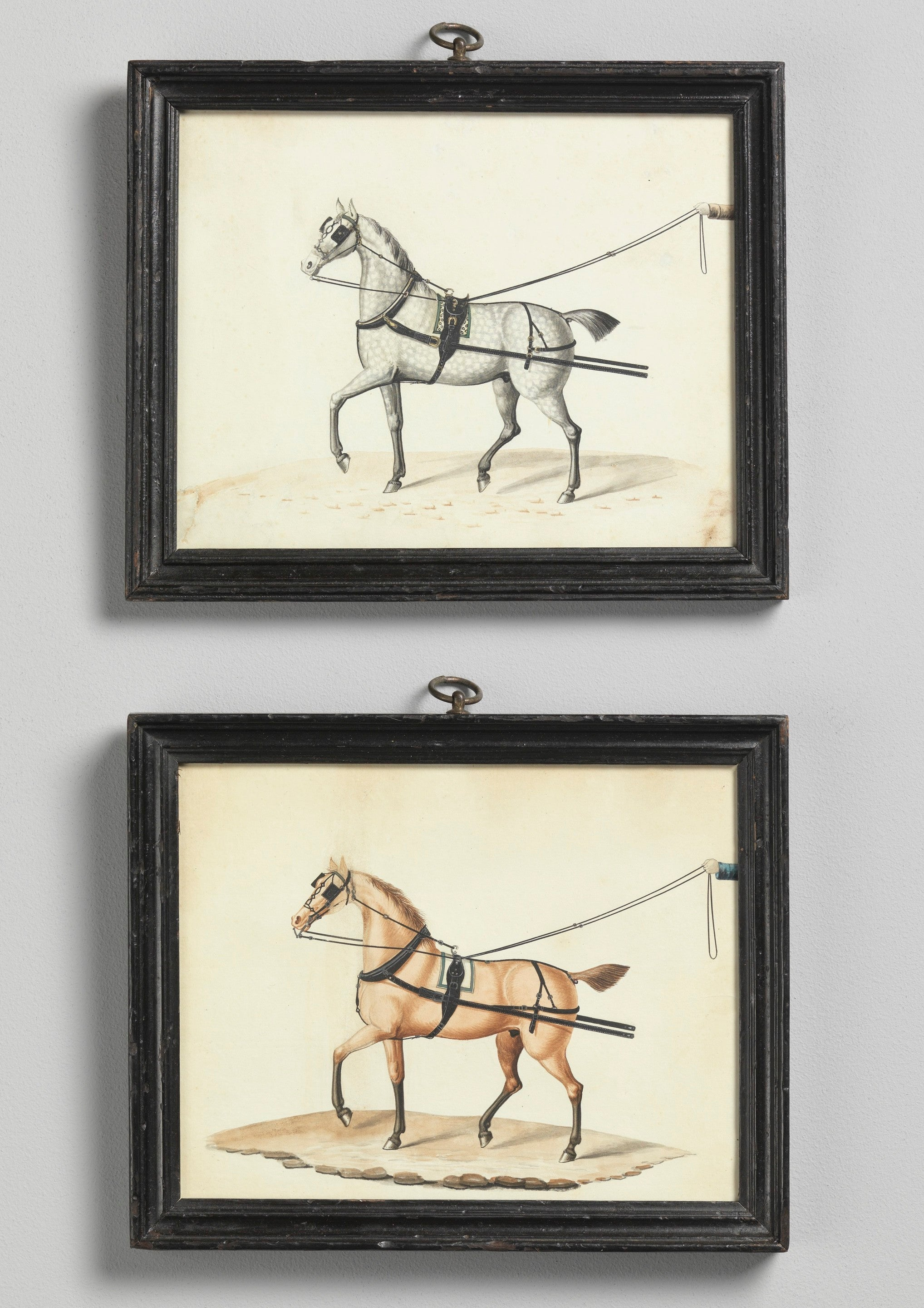 Pair of Carriage Horse Portraits