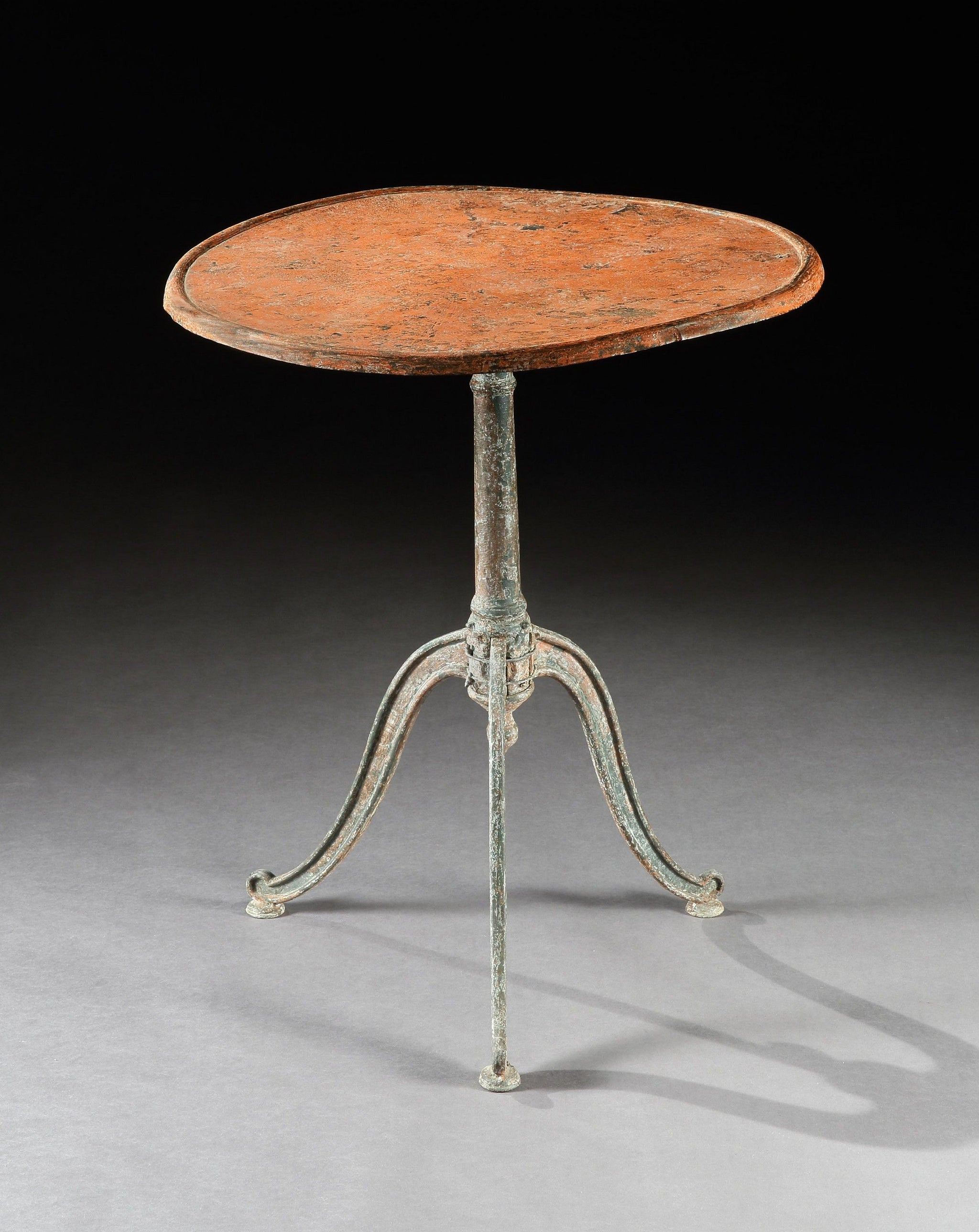 Rare Early Primitive Metal Tripod Table