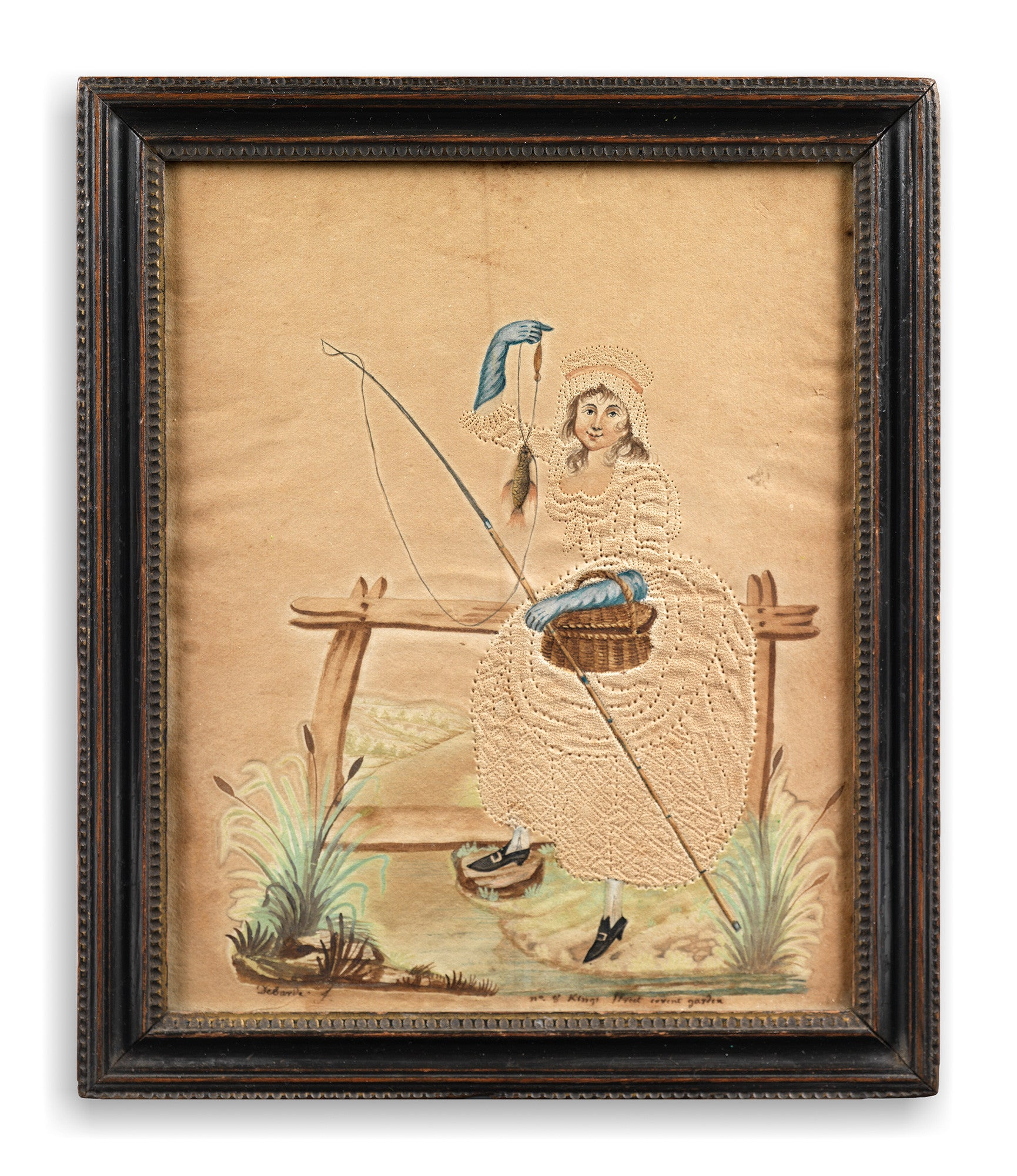 "Remarkable Pair of Georgian Folk Art ""Pin-Prick"" Angling Pictures"