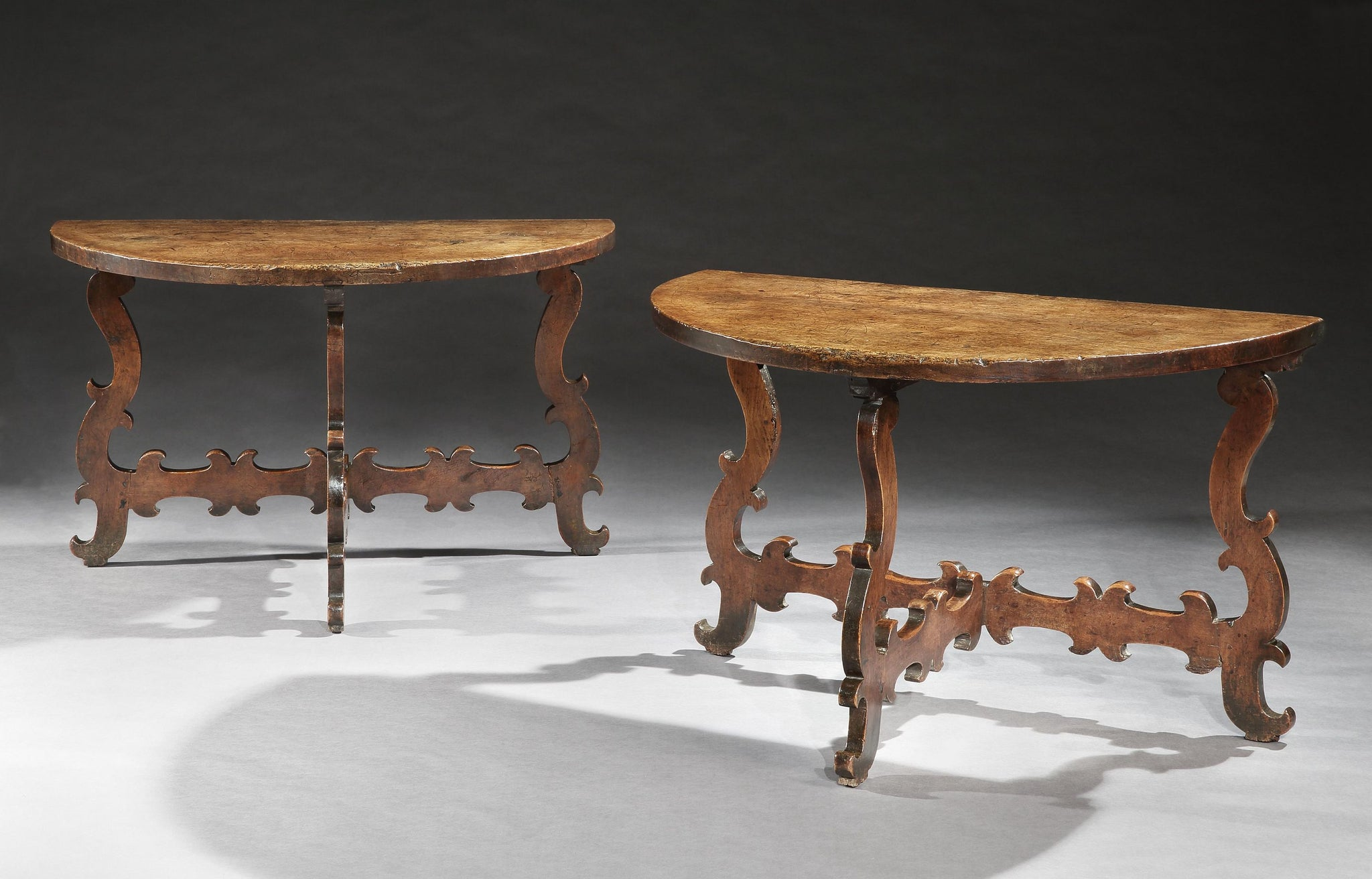 Pair of Provincial Demi-Lune Console Tables