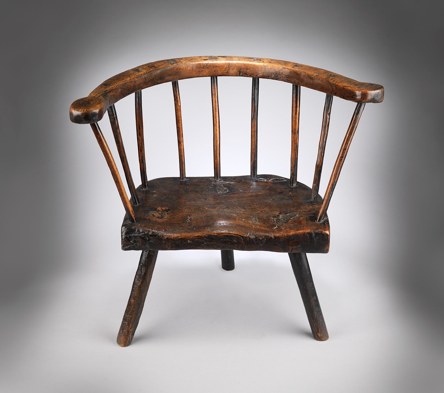 Unusual Primitive Three Legged Fireside Windsor Armchair
