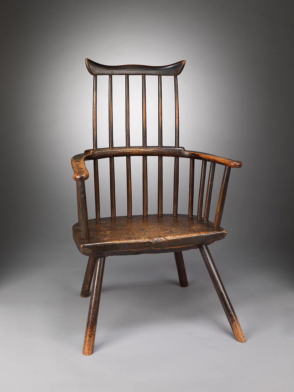 Magnificent Graphic Primitive Windsor Comb Back Armchair